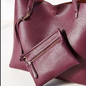 Reversible vegan leather and suede tote bag